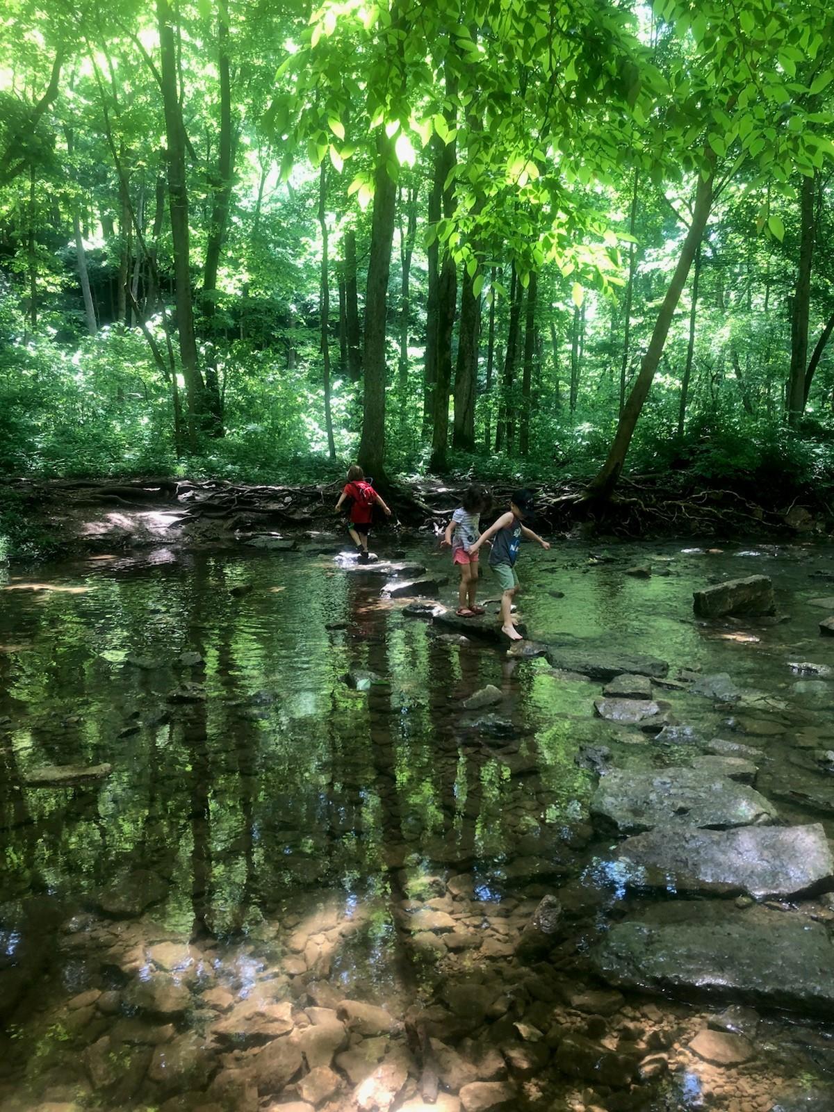 YS kids crossing water